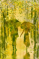 Textured silhouettes of a couple with umbrellas walking on a wet reflecting ground with stylized trees, falling blossoms, leaves, and rain splatters in light spring green, yellow and orange colors