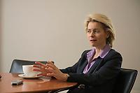 21 MAR 2014, BERLIN/DEUTSCHLAND:<br /> Ursula von der Leyen, CDU, Bundesministerin der Verteidigung, waehrend einem Interview, in ihrem Buero, Bundesministerium der Verteidigung<br /> IMAGE: 20140321-01-026<br /> KEYWORDS: Büro