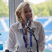 August 16, 2014, New Haven, CT:<br /> Tournament Director Anne Worcester speaks during the Aetna Symposium on day four of the 2014 Connecticut Open at the Yale University Tennis Center in New Haven, Connecticut Monday, August 18, 2014.<br /> (Photo by Billie Weiss/Connecticut Open)