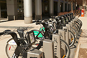 Rental bikes in Downtown Toronto, Ontario, Canada, sponsored by Telus