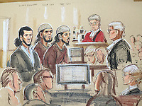 Left to right<br /> Haseeb Hamayoon, Yousaf Syed, Nadir Syed<br /> Prosecutor ,Max Hill QC on far right<br /> Justice Saunders listens to opening