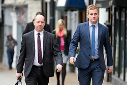 © Licensed to London News Pictures. 21/11/2017. Wakefield, UK. Corpus Christi Catholic school head teacher (left) Steve Moat & teacher Andrew Kellett (right) arrive at Wakefield Coroners Court this morning for the seventh & final day of the Ann Maguire inquest. Mrs Maguire, a 61 year old Spanish teacher, was stabbed to death by Will Cornick at Corpus Christi Catholic College in Leeds in April 2014. The school pupil, who was 15 at the time, admitted murdering Mrs Maguire and was given a life sentence later that year. Since then, some of Mrs Maguire's family have campaigned for further investigation into her death as they believe more could have been done to prevent the tragedy. Photo credit: Andrew McCaren/LNP