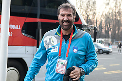 Veselin Vujovic, head coach of Slovenia before handball match between National teams of Slovenia and Spain on Day 6 in Main Round of Men's EHF EURO 2018, on January 23, 2018 in Arena Varazdin, Varazdin, Croatia. Photo by Mario Horvat / Sportida