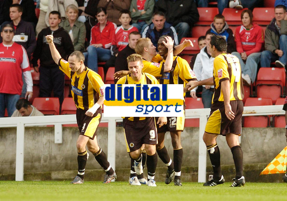 Photo: Leigh Quinnell.<br /> Swindon Town v Boston United. Coca Cola League 2. 30/09/2006. Boston celebrate a late goal by Dany N'Guessan(22)