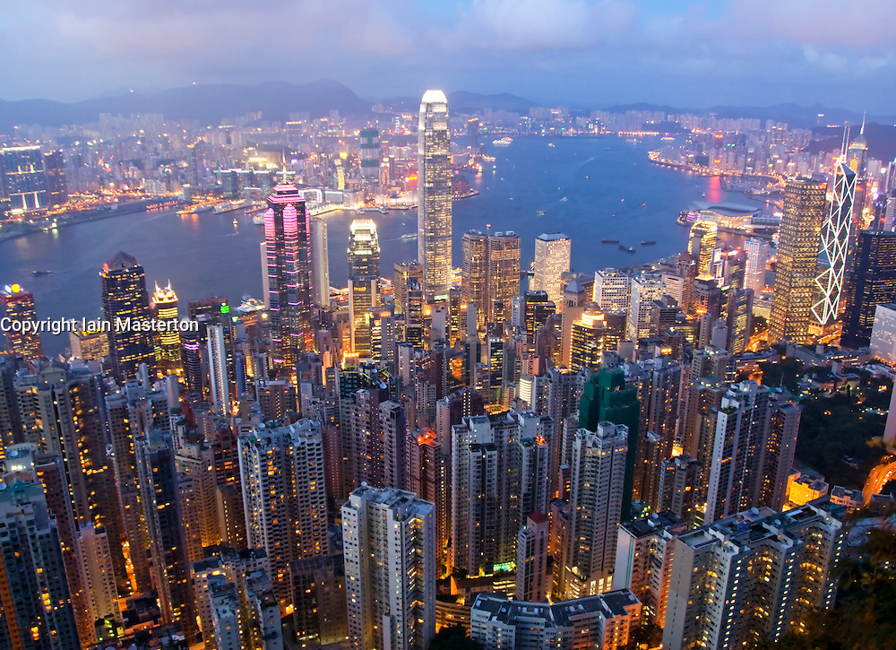 Night cityscape of Hong Kong from The Peak