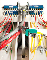 Cables and wires on a machine