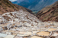 Maras salt mines in the peruvian Andes at Cuzco Peru