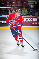 KELOWNA, CANADA - MARCH 7: Devon McAndrews #15 of Spokane Chiefs warms up against the Kelowna Rockets on March 7, 2015 at Prospera Place in Kelowna, British Columbia, Canada.  (Photo by Marissa Baecker/Shoot the Breeze)  *** Local Caption *** Devon McAndrews;