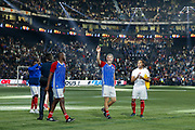 Laurent Blanc (France 98), Christian Karembeu (France 98), Patrick Vieira (France 98), greated supporters at the end of the game during the 2018 Friendly Game football match between France 98 and FIFA 98 on June 12, 2018 at U Arena in Nanterre near Paris, France - Photo Stephane Allaman / ProSportsImages / DPPI