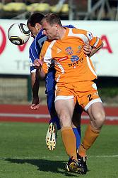 Sead Zilic of Drava vs Bostjan Zemljic of Nafta at football match of 31st Round of 1st Slovenian League  between NK Drava and NK Nafta, on April 17, 2010, in Ptuj, Slovenia. (Photo by Marjan Kelner / Sportida)