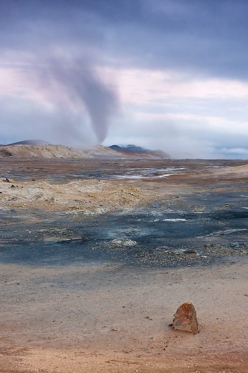A long exposure of a fumarole in Hverarond plain turns it into a hurricane like cloud