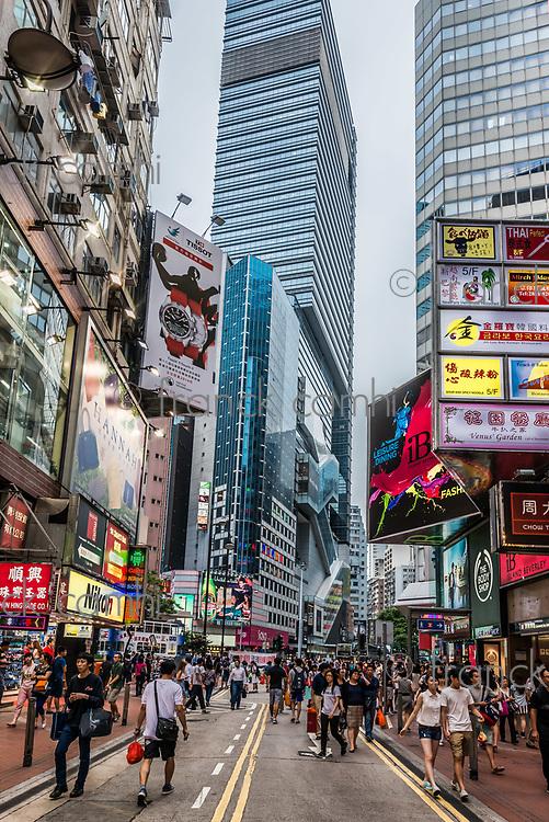 causeway bay, hong kong, china - june 6, 2014: people shopping in the streets of causeway bay