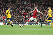 Arsenal midfielder Jack Wilshere (10) dribbling during the Europa League semi final first leg match between Arsenal and Atletico Madrid at the Emirates Stadium, London, England on 26 April 2018. Picture by Matthew Redman.