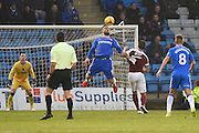 Gillingham defender Max Ehmer (5) heads the ball clear during the EFL Sky Bet League 1 match between Gillingham and Northampton Town at the MEMS Priestfield Stadium, Gillingham, England on 12 November 2016. Photo by Martin Cole.