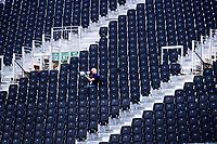 Londen - fotograaf op de tribune   tijdens de cross over wedstrijd Argentinie-Nieuw Zeeland (2-0)  bij het WK Hockey 2018 in Londen .  COPYRIGHT KOEN SUYK