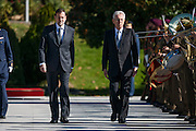 Prime Ministers, Mariano Rajoy and Mario Monti, inspecting troops