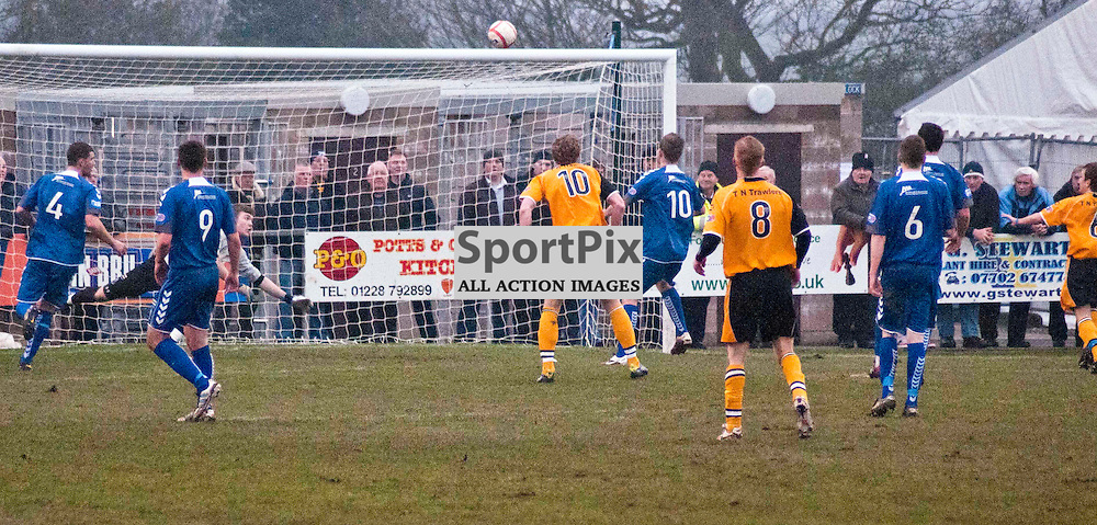 Honours even at Galabank as Annan Athletic allow Elgin City to equalise at Galabank. Jack Steele (edge of picture) sends the ball in to open the scoring for the h,me side