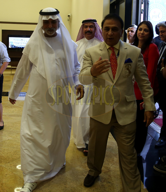 His Excellency Shaikh Nahayan Mubarak and Sunil Gavaskar interim President of BCCI walks in during match 20 of the Pepsi Indian Premier League Season 2014 between the Mumbai Indians and the Sunrisers Hyderabad held at the Dubai International Stadium, Dubai, United Arab Emirates on the 30th April 2014<br /> <br /> Photo by Sandeep Shetty / IPL / SPORTZPICS