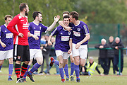 City of Liverpool's (purple) celebrate Jamie McDonalds opening goal during the North West Counties League Play Off Final match between Litherland REMYCA and City of Liverpool FC at Litherland Sports Park, Litherland, United Kingdom on 13 May 2017. Photo by Craig Galloway.