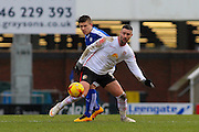 Crewe Alexandra forward Marcus Haber wins the ball during the Sky Bet League 1 match between Chesterfield and Crewe Alexandra at the Proact stadium, Chesterfield, England on 20 February 2016. Photo by Aaron Lupton.