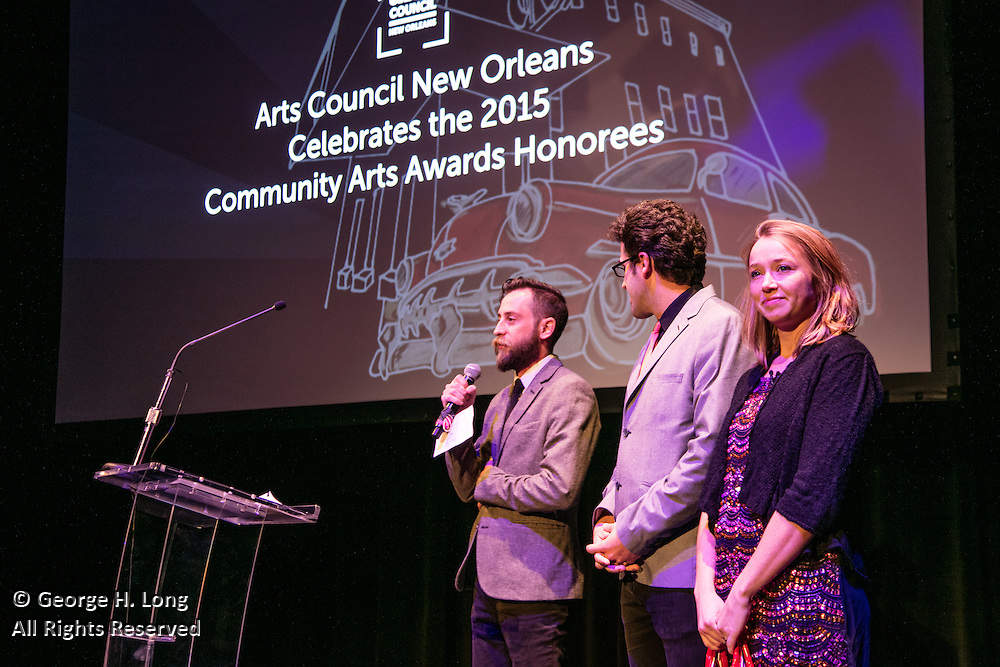 William Bowling, Chris Kaminstein, and Shanon Flaherty of Goat in the Road Productions at the Arts Council New Orleans Community Arts Awards Celebration at the Civic Theatre December 2, 2015