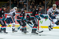 KELOWNA, CANADA - SEPTEMBER 22: Lassi Thomson #2 and Kyle Topping #24 of the Kelowna Rockets block a shot on net by the Kamloops Blazers  on September 22, 2018 at Prospera Place in Kelowna, British Columbia, Canada.  (Photo by Marissa Baecker/Shoot the Breeze)  *** Local Caption ***
