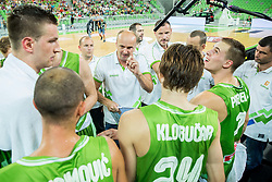 Jure Zdovc, head coach of Slovenia with players during friendly basketball match between National teams of Slovenia and Australia, on August 4, 2015 in Arena Stozice, Ljubljana, Slovenia. Photo by Vid Ponikvar / Sportida