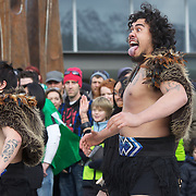 The Irish Rugby team receive an official maori welcome as the The Irish Rugby Team arrive at Queenstown airport, for the IRB Rugby World Cup 2011, Queenstown, New Zealand, 1st September 2011. Photo Tim Clayton.....