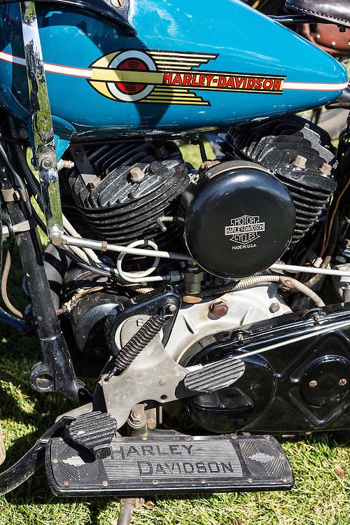 1938 Harley Davidson UH, engine details, at the 2012 Santa Fe Concorso.