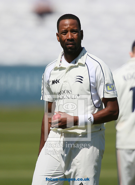 Picture by Paul Gaythorpe/Focus Images Ltd +447771 871632.25/05/2013.Corey Collymore of Middlesex County Cricket Club bowling during the LV County Championship Div One match at Emirates Durham ICG, Chester-le-Street.