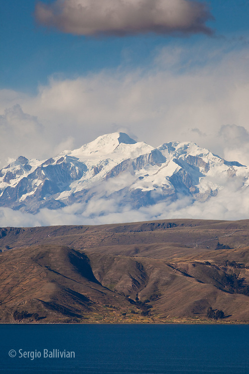 Mt. Ancohuma in the Cordillera Real mountain range as seen from Lake Titicaca, Bolivia