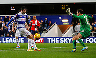 Picture by David Horn/Focus Images Ltd +44 7545 970036<br /> 07/12/2013<br /> Charlie Austin of Queens Park Rangers  shoots during the Sky Bet Championship match at the Loftus Road Stadium, London.
