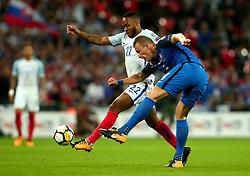 Raheem Sterling of England shuts down Jan Durica of Slovakia - Mandatory by-line: Robbie Stephenson/JMP - 04/09/2017 - FOOTBALL - Wembley Stadium - London, United Kingdom - England v Slovakia - 2018 FIFA World Cup Qualifier