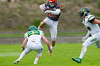 KELOWNA, BC - SEPTEMBER 22:  Conor Richard #10 of Okanagan Sun jumps over Riley Mikkelson #29 of Valley Huskers as he tries to tackle him at the Apple Bowl on September 22, 2019 in Kelowna, Canada. (Photo by Marissa Baecker/Shoot the Breeze)