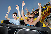 "Liam James and Toni Collette ride a roller coaster for ""The Way Way Back"" First Day of Summer Kick Off, on Friday, June, 21, 2013 in Santa Monica, California. (Photo by Todd Williamson/Invision for Fox Searchlight/AP Images)"