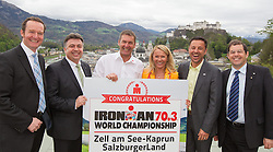 08.04.2014, Moenchsberg, Salzburg, AUT, IRONMAN 70.3 World Championship, Zell am See, Pressekonferenz, im Bild Georg Segl (TVB Zell am See), Peter Padourek (Zell am See), Werner Dannhauser, Renate Ecker (GF TVB Zell am See Kaprun), Christoph Bruendl (TVB Zell am See Kaprun), Manfred Gassner, Kaprun) // during the Press Conference of the AUT, IRONMAN 70.3 World Championship, Zell am See at the Moenchsberg, Salzburg, Austria