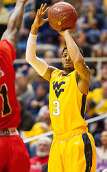 Dec 10, 2016; Morgantown, WV, USA; West Virginia Mountaineers guard James Bolden (3) shoots a three pointer during the first half against the Virginia Military Keydets at WVU Coliseum. Mandatory Credit: Ben Queen-USA TODAY Sports
