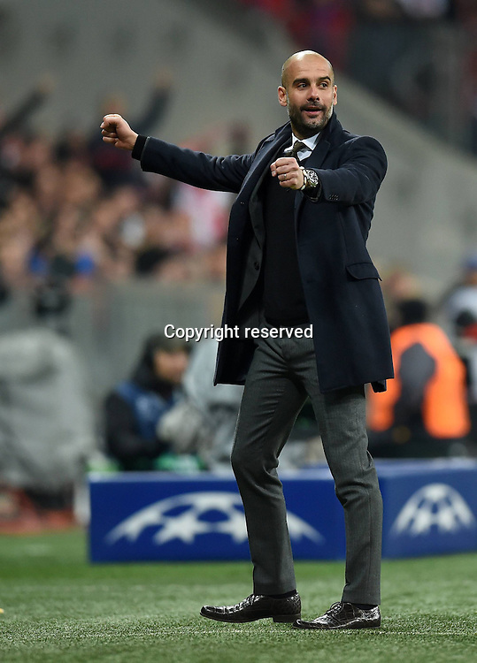 11.03.2015. Allianz Stadium, Munich, Germany. UEFA Champions League football. Bayern Munich versus Shakhtar Donetsk.  A happy Trainer Pep Guardiola (FC Bayern Muenchen)  The game ended 7-0 to Bayern over Shakhtar.