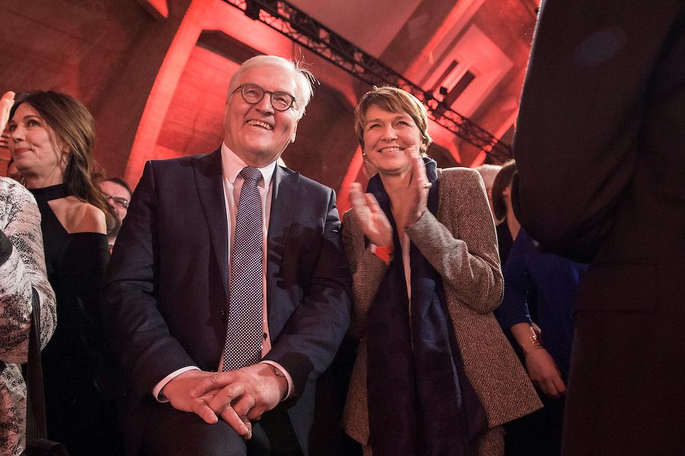 11 FEB 2017, BERLIN/GERMANY:<br /> Frank-Walter Steinmeier (L), SPD, Kandidat fuer das Amt des Bundespraesidenten, und Elke Buedenbender (R), Ehefrau von Steinmeier, waehrend einem Empfang der SPD anl. der Bundesversammlung, Westhafen Event und Convention Center<br />  IMAGE: 20170211-03-036<br /> KEYWORDS: Elke Büdenbender