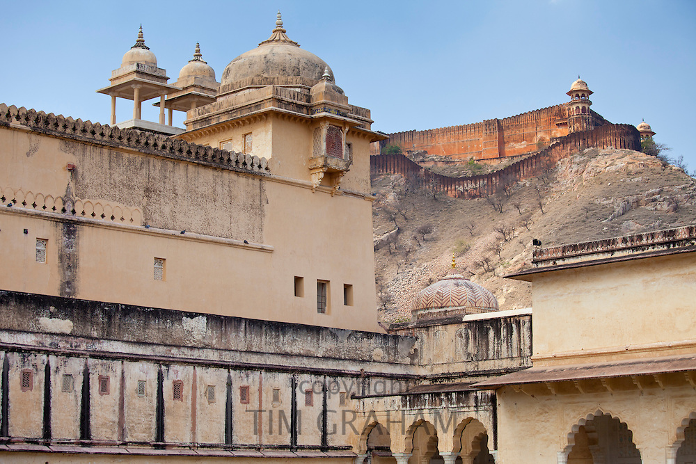 Chattri at The Amber Fort a 16th Century Rajput fort in Jaipur and 11th Century Jaigarh Fort behind in Rajasthan, India