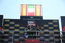 July 8, 2018 - Misano, Italy, Italy - Podium SSP 300 M.BASTIANELLI - M.PEREZ - M...GONZALEZ during the Motul FIM Superbike Championship - Italian Round  Sunday race during the World Superbikes - Circuit PIRELLI Riviera di Rimini Round, 6 - 8 July 2018 on Misano, Italy. (Credit Image: © Fabio Averna/NurPhoto via ZUMA Press)