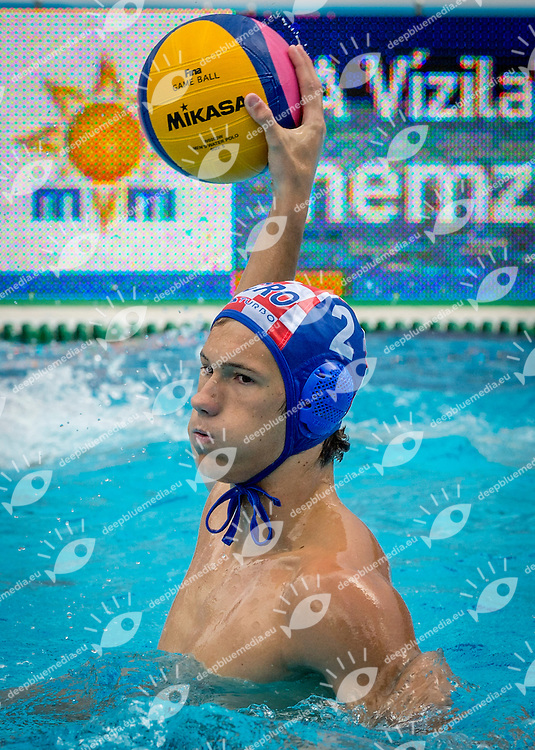 2 BUKIC Luka CRO<br /> France (White) Vs Croatia (Blue) Men<br /> LEN European Water Polo Championships 2014 - July 14-27<br /> Alfred Hajos -Tamas Szechy Swimming Complex<br /> Margitsziget - Margaret Island<br /> Day04 - July 17<br /> Photo Giorgio Scala/Inside/Deepbluemedia