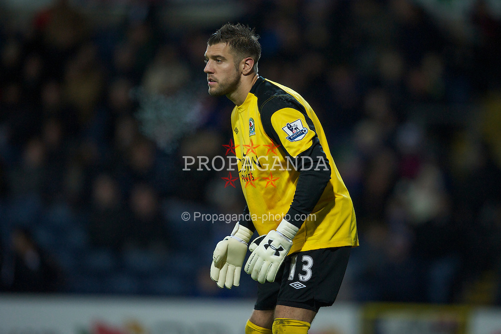 BLACKBURN, ENGLAND - Wednesday, January 5, 2011: Blackburn Rovers' goalkeeper Mark Bunn in action against Liverpool during the Premiership match at Ewood Park. (Pic by: David Rawcliffe/Propaganda)