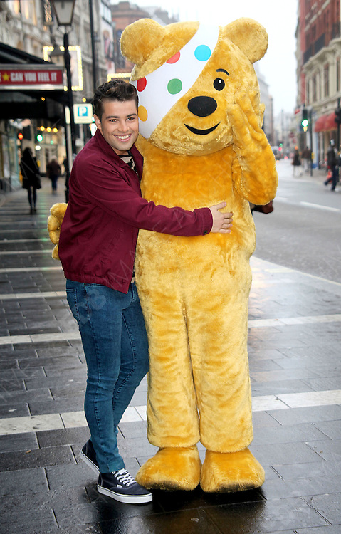 22.OCTOBER.2012. LONDON<br /> <br /> SINGER AND SONGWRITER JOE MCELDERRY JOINS PUDSEY BEAR AT THE LYRIC THEATRE, SHAFTESBURY AVENUE, LONDON TO CELEBRATE HIS COLLABORATION IN THIS YEAR&rsquo;S BBC CHILDREN IN NEED POP GOES THE MUSICAL, WHERE HE WILL BE APPEARING IN THRILLER LIVE ON THURSDAY 15TH NOVEMBER 2012.<br /> <br /> BYLINE: EDBIMAGEARCHIVE.CO.UK<br /> <br /> *THIS IMAGE IS STRICTLY FOR UK NEWSPAPERS AND MAGAZINES ONLY*<br /> *FOR WORLD WIDE SALES AND WEB USE PLEASE CONTACT EDBIMAGEARCHIVE - 0208 954 5968*