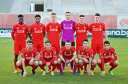 SOFIA, BULGARIA - Wednesday, November 26, 2014: Liverpool's players line up for a team group photograph before the UEFA Youth League Group B match against PFC Ludogorets Razgrad at the Georgi Asparuhov Stadium. Back row L-R: Oviemuno Ejaria Sheyi Ojo, Jerome Sinclair, Daniel Cleary, goalkeeper Ryan Fulton, Corey Whelan, Samuel Hart. Front row L-R: Joe Maguire, Harry Wilson, captain Jordan Rossiter, Sergi Canos, Pedro Chirivela. (Pic by David Rawcliffe/Propaganda)