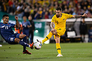 CANBERRA, AUSTRALIA - OCTOBER 10: Australian forward Jamie Maclaren (9) shoots at goal during the FIFA World Cup Qualifier soccer match between Australia and Nepal on October 10, 2019 at GIO Stadium in Canberra, Australia. (Photo by Speed Media/Icon Sportswire)