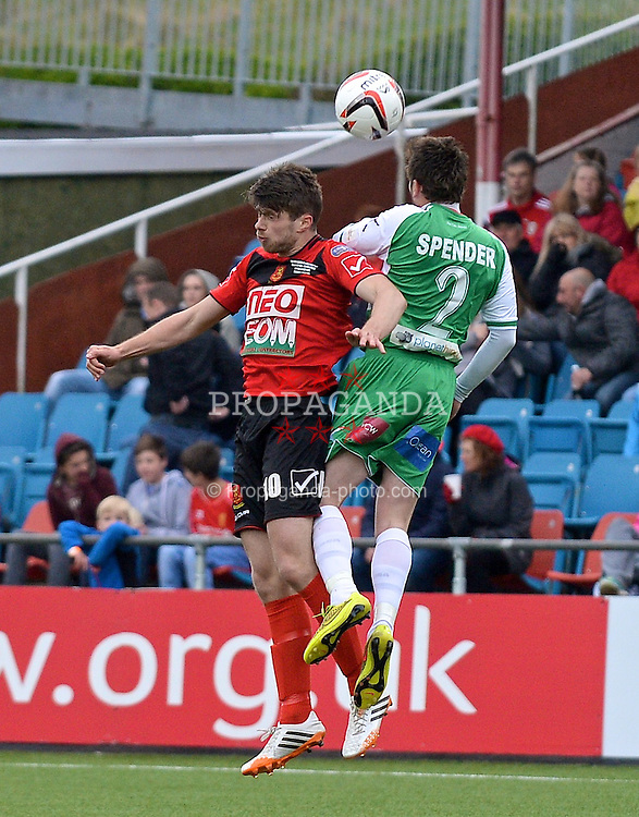 NEWTOWN, WALES - Saturday, May 2, 2015: Newtown's Jason Oswell in action against The New Saints during the FAW Welsh Cup final match at Latham Park. (Pic by Ian Cook/Propaganda)