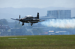 The RNZAF Black Falcons aerobatic team preforming at the Tauranga City Airshow, Tauranga, New Zealand, Saturday, January 20,  2018. Credit:SNPA / Richard Moore **NO ARCHINVING**