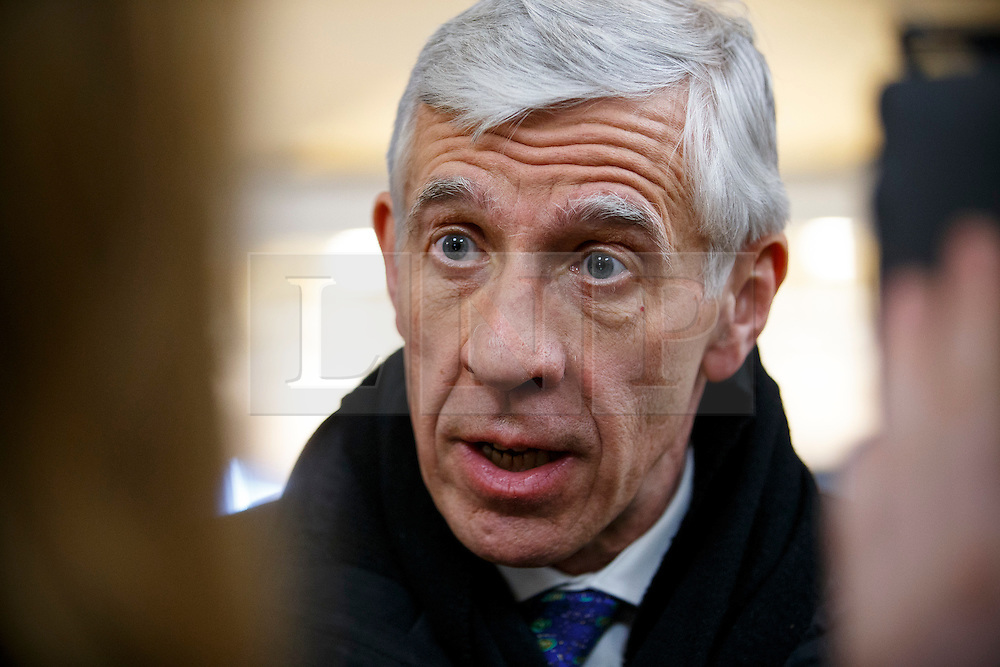 © Licensed to London News Pictures. 23/02/2015. LONDON, UK. Ex-Foreign Secretary Jack Straw, who suspended from Labour Party after being secretly filmed apparently offering their services to a private company for cash, talking to media at Milbank studios in central London on Monday, 23 February 2015. Photo credit : Tolga Akmen/LNP