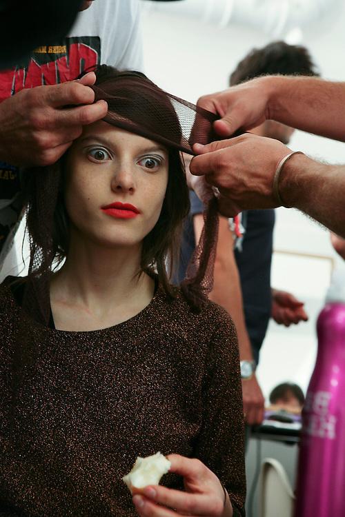 Milan, Italy, September 26, 2010. Backstage at Marni during the Milan Women's Fashion Week Spring/Summer 2011.
